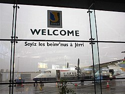 Welcome to Jersey sign at Jersey Airport