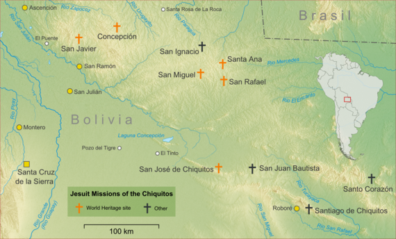 Topographic map showing major towns and villages in the Chiquitania and the Jesuit missions. The Jesuit missions are in the highlands north-east of Santa Cruz de la Sierra, in eastern Bolivia, close to the Brazil border.