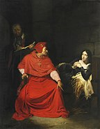 Paul Delaroche (1824): Joan of Arc is interrogated by the Cardinal of Winchester in prison (historicizing illustration)