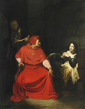 Trial of Joan of Arc - Joan of Arc is interrogated by The Cardinal of Winchester in her prison 1431. Painting by Paul Delaroche (1797-1856).