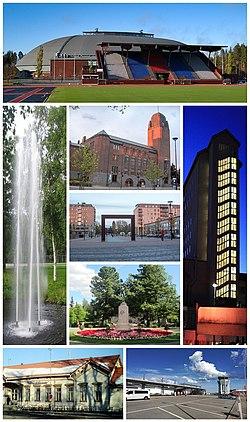 Med klokken fra øverst til venstre: Joensuu Arena, North Karelia Central Hospital, Joensuu Airport, Joensuu Railway Station og fontenen i parken;  i midten fra topp til bunn: Joensuu rådhus, Joensuu havn nær markedsplassen og Frihetsgudinnen i Frihetsparken