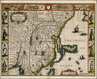 "Cathay - Not convinced by the Jesuits, John Speed in 1626 follows Jodocus Hondius' layout: he shows the chain of Silk Road cities visited by de Góis (Cuchia, Chialis, Turfan, Camul) – but has it directed not toward China's Shaanxi (Xiamxii? Sancii?), as shows by de Góis, but toward the mysterious ""Cathaya, the Chief Kingdome of Great Cam"", northeast of China. Naturally, Cambalu and Xandu are shown in Cathay, while Shuntien (Beijing) is in China"