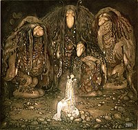 John Bauer's illustration of trolls and a princess from a collection of Swedish fairy tales
