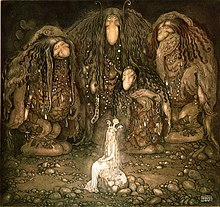 Illustration of three trolls surrounding a princess in a dark area, as adapted from a collection of Swedish fairy tales