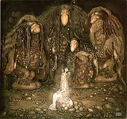 Trolls with an abducted princess (John Bauer, 1915).