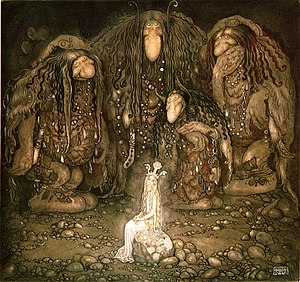 Scandinavian folklore - Mother Troll and Her  Sons by Swedish painter John Bauer, 1915.