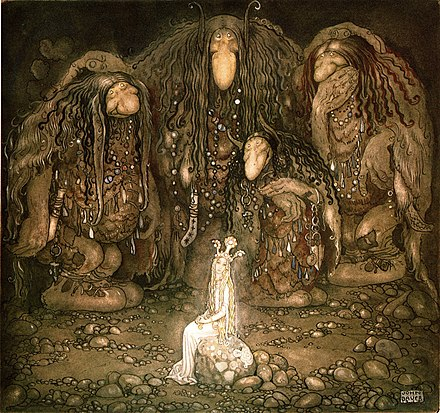 John Bauer's illustration of trolls and a princess from a collection of Swedish fairy tales John Bauer 1915.jpg