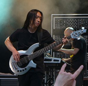 John Myung - Myung performing with Dream Theater in Madrid, 2012