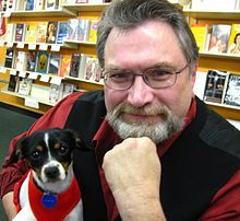 Jonathan Maberry and his dog Rosie in 2012