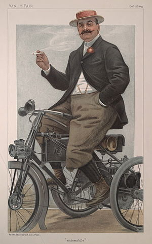 "Jules-Albert de Dion - ""Automobile"". Caricature by Guth published in Vanity Fair in 1899."