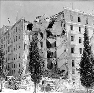1946 in Mandatory Palestine - King David Hotel bombing: The King David Hotel after the bombing