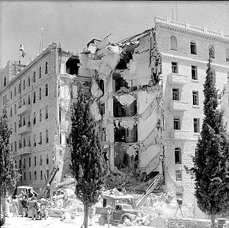 Jewish insurgency in Mandatory Palestine - The King David Hotel after the bombing, photo from The Palestine Post