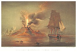 HMS Maeander (1840) - Observing a volcanic eruption in the Indonesian seas (c1851)