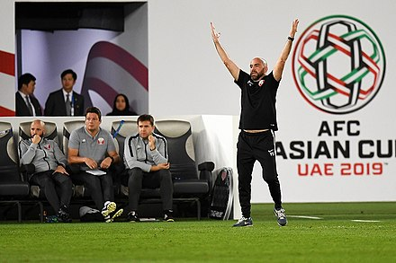 Coach Felix Sanchez with his coaching staff in January 2019 KOR-QAT 20190125 Asian Cup8.jpg