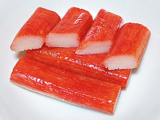 Crab stick form of kamaboko, a processed seafood made of finely pulverized white fish flesh (surimi)