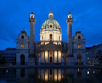 Karlskirche - Dome of Karlskirche in Vienna illuminated at night