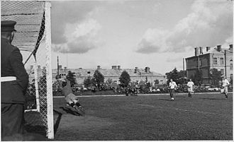 1935 LFF Lyga - Goalkeeper, cadet Bronius Jankauskas in action. Kaunas Military School stadium, 8th of May, 1935.