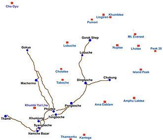 Khumbu -  Map of the Khumbu region