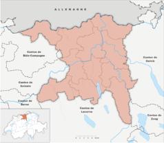 """Mapa konturowa Argowii, w centrum znajduje się punkt z opisem """"Gränichen"""""""