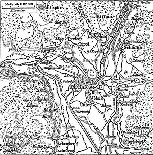 Merano - Historical map of Meran and surrounding area (1888).