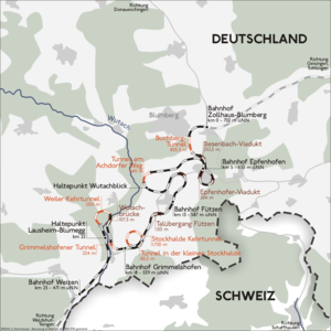 """Wutach Valley Railway - Map of the """"Pigtail Line"""" stretch of the Wutachtalbahn"""