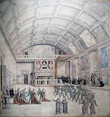 Sketch of a large room with a barrel vault ceiling. The room is occupied by several groups of people