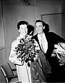 Katharine Hepburn and Robert Helpmann arrive at Kingsford Smith Airport, Sydney, 1955 - Australian Photographic Agency (APA) Collection (3363910055).jpg