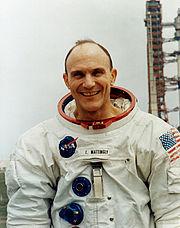 Ken Mattingly poses at the launch pad