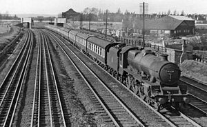 South Kenton station - West Coast Main Line south of Kenton in 1955