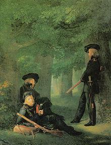Friesen, Körner (sitzend, Mitte) und Heinrich Hartmann auf Vorposten (Gemälde von Georg Friedrich Kersting, 1815) (Quelle: Wikimedia)