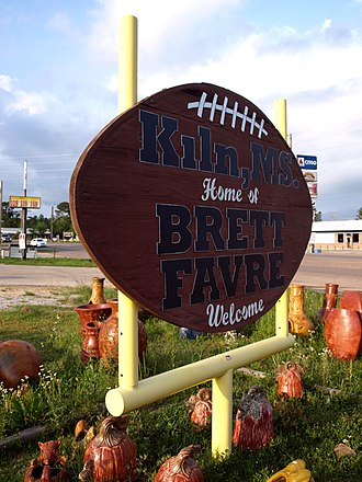 Kiln, Mississippi - A football-shaped city welcome sign in honor of notable former resident Brett Favre.