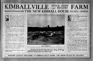 Morningside/Lenox Park - Newspaper ad for Kimballville Farms, 1909