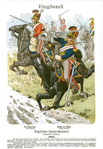 1st Cavalry Brigade (United Kingdom) - Life Guards (left) and Horse Guards (right) charging.
