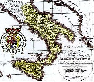 Southern Italy autonomist movements - Location of the Kingdom of the Two Sicilies, the last southern Italian state before the Italian unification.