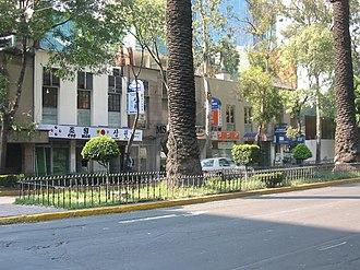 Koreatown - Korean businesses on Florencia Street in Mexico City.