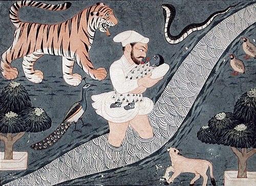 Krishna carried over river yamuna