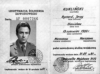 Ryszard Kukliński - Last army ID of Colonel Kukliński