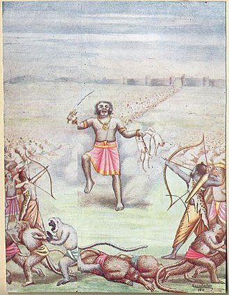 Kumbhakarna - Kumbhakarna Enters Warfront, Painting by Balasaheb Pandit Pant Pratinidhi