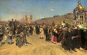 Easter Procession in the Region of Kursk. Oil ...