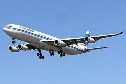 Kuwait Airways A340-313 (9K-AND) landing at London Heathrow Airport.jpg
