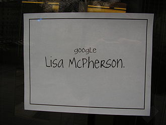 Project Chanology - A flyer asking passersby to research the death of Lisa McPherson. The flyer appeared during Project Chanology at Litchfield Towers, University of Pittsburgh, January 29, 2008.
