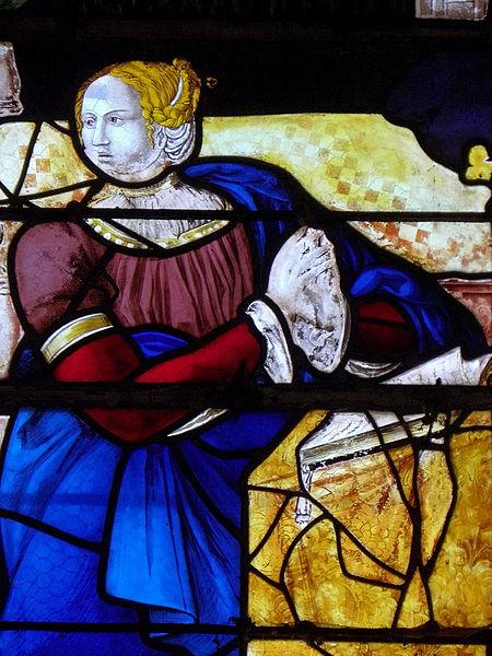 Vitrail de l'Annonciation de l'église Saint-Julien de La Bazouge-des-Alleux (53). La Vierge.