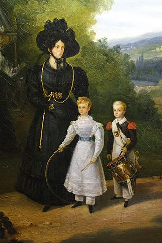 Marie Joséphine Louise, duchesse de Gontaut - The Duchess of Gontaut, governess of the children of France, walking Louise d'Artois and her brother, Henri, duc de Bordeaux, in the gardens of Saint-Cloud.