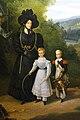 La duchesse de Gontaut, gouvernante des Enfants de France, promenant Louise d'Artois et son frère, Henri, duc de Bordeaux, dans les jardins de Saint-Cloud..jpg