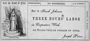 Labor notes (currency) - Sample labor for labor note for the Cincinnati Time Store. Scanned from Equitable Commerce (1846) by Josiah Warren