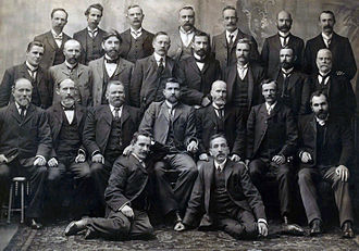 Billy Hughes - Group photograph of all Federal Labour Party MPs elected at the inaugural 1901 election, including Chris Watson, Andrew Fisher, Hughes, and Frank Tudor.
