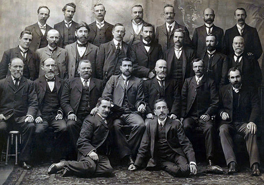 Group photograph of all Federal Labour Party MPs elected at the inaugural 1901 election, including Chris Watson, Andrew Fisher, Billy Hughes, and Frank Tudor. Labor 1901b.jpg