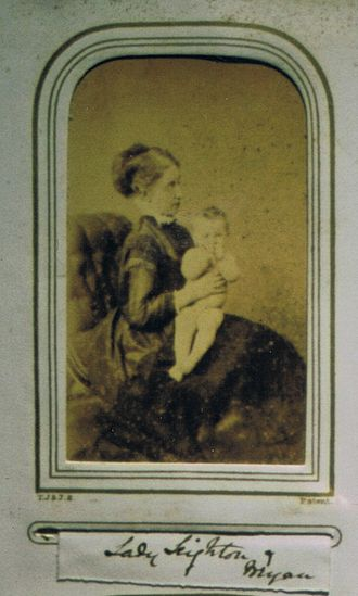 Sir Baldwyn Leighton, 8th Baronet - Lady Leighton and her son Bryan, from an 1860s album made by her aunt-in-law.