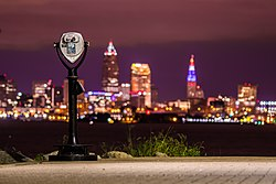 Skyline of Downtown Cleveland as seen from Lakewood Park at night.
