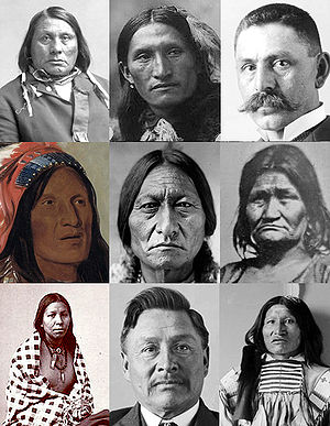 English: Collage of Lakota people from various...